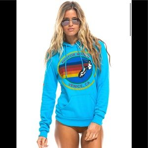 AVIATOR NATION PULLOVER HOODIE - NEON BLUE Sz S 🌈